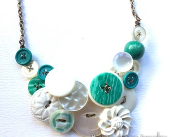 White Vintage Button Necklace with Teal Swirl - Jewelry Statement Necklace