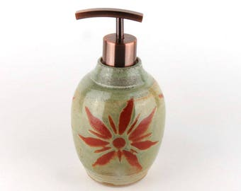 Lotion Dispenser or Soap Dispenser for Kitchen or Bath- Stoneware Lotion Bottle - Stoneware Liquid Soap Bottle
