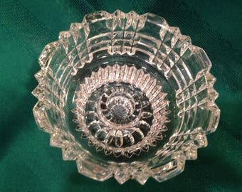 Vintage Mid Century Clear Glass/Crystal Votive/ Taper Candle Holder Bowl
