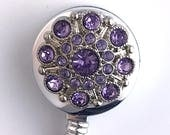 Light Purple Rhinestone Button ID Badge Holder,  Name Badge Reel 353