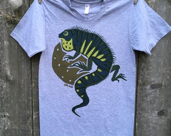 Green Iguana on the Moon Adult Tee