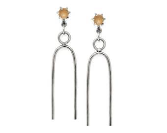 Vibration Earrings // Peach Moonstone