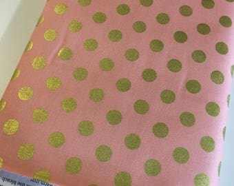 Pink Gold fabric, Pink Gold Nursery fabric,  Modern Baby Quilt fabric, On Trend Dot in Pink, Nursery Decor, Choose Your Cut