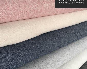 Linen Fabric, Essex Yarn Dyed Homespun Linen fabric bundle, Dress Fabric, Apparel Fabric, Quilt Bundle, Robert Kaufman, Fabric bundle of 6