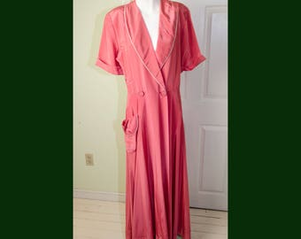 Vintage 1950's Dark Coral Dressing Gown Lounging Robe