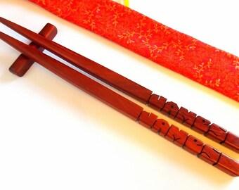 Chopsticks, Paduak Wood, Personalized, Custom Carved to Order