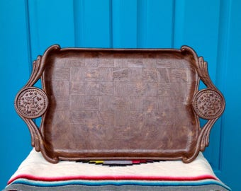 FREE SHIPPING-Vintage Faux Wood Persian/Asian Polo Serving Tray-Barware Tray-Bathroom Tray-Checkerboard Pattern-Masculine Tray-Mancave