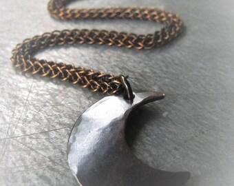 Demi Lune Pendant Necklace Bronze Half Moon Necklace  Item No. 2371CU