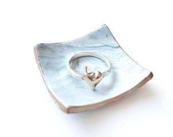 Custom  rose gold clay faux marble engagement ring dish