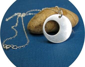 Eclipse Silver Necklace, Bold Pendant Necklace, Mod Necklace