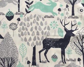 custom bandana bib~ navy/mint woodland animals ~  drool bib ~ chic couture ~ baby accessories ~ custom bandana bib from lillybelle designs