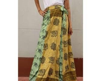 Handmade 8 Pieces floral Thai batik Elephant  Sarong patchwork long comfortable  wear wrap skirt fit all size (BT17)