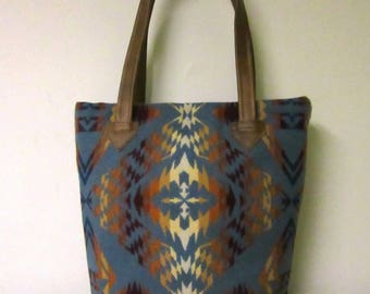 Tote Bag Bucket Bag Purse Wool Brown Leather 5 Pockets Southwestern Print Blanket Wool from Pendleton Oregon