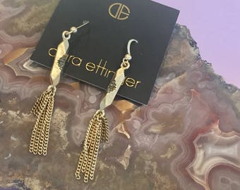 Dara Ettinger pave accent crystal and metal tassel earrings in gold