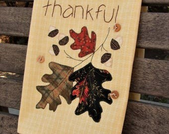 Thanksgiving Tea Towel | Thankful Kitchen Towel | Appliqued Acorns & Oak Leaves | Hand Embroidery | Holiday Decor | Mustard Cream Towel