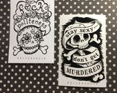 Stay Sexy and F*ck Politeness Skull Murderino Sticker Set of Two