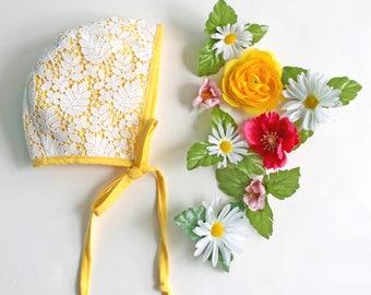 Yellow Bonnet, Lace Bonnet, Off White Bonnet, Easter Bonnet, Baby Bonnet, Toddler Bonnet, Spring Bonnet for Baby, Yellow Lace Bonnet