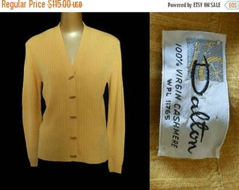 ON SALE Vintage 60s Cashmere Cardigan Sweater by Dalton, 1960s Mustard Yellow Cashmere Jumper, Size Medium