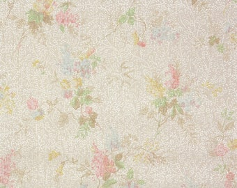 1930s Vintage Wallpaper by the Yard - Antique Floral Wallpaper Tiny Lilacs and Roses