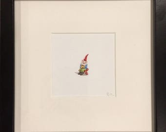 FRAMED Miniature Painting of a gnome by Brooke Rothshank