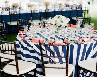 "READY TO SHIP! 132"" Round 6' Foot Navy Blue Satin 2"" Wide Striped Tablecloth, Wedding, Nautical, Cape Cod Blue White"