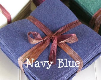 Solid NAVY BLUE, FLANNEL Fabric Squares,  Rag Quilt, Traditional Quilting, pick size & quantity, We Cut You Sew