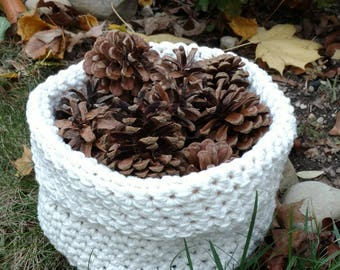 Natural Cotton Crocheted Bowl