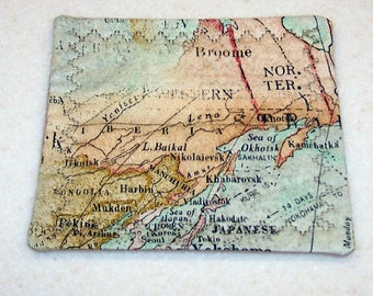 Map fabric coasters set of 6