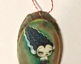 Bride of Frankenstein Christmas Tree Ornament Wooden Handmade Tree Decoration Forest Decoration