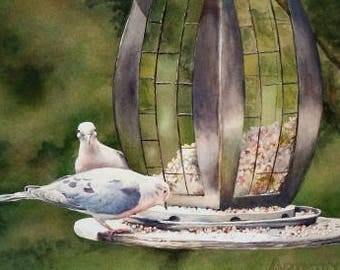 Bird Art - Limited Edition Print - Watercolor Painting - Mourning Doves - Bird Painting - Bird Feeder - Home Decor - Wall Art