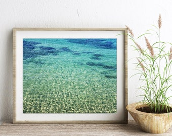 "Beach Wall Art - Turquoise Blue Water - Ocean Print - Greece Photograph - Aqua Teal Blue - Bathroom Decor ""Aegean Beauty"""