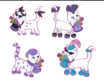 classy cats w/ booties, hats, purses, scarfs,  fabric iron-on appliques 3-4 inches tall