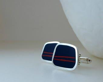 Inky Blue Cufflinks - Contemporary Silver Cuff-links - Striped Cufflinks - Gift for Him - Graphico Striped Cufflinks