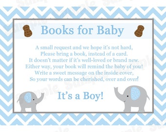 24 Books For Baby Insert Cards -  Baby Shower Cards - Bring a Book Instead of a Card -  Elephant Baby Shower - Blue