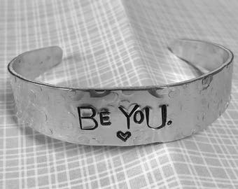 Custom Stamped Silver Cuff, stamped with your own custom quote, name or phrase along with custom symbols, adjustable to fit all size wrists