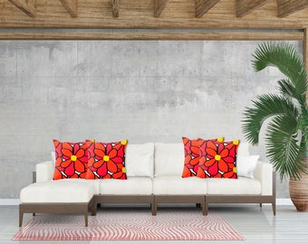 Red Flowers Pillow - Floral Decorative pillow cover - Red pillow cover - Modern pillow - Floral pillow - red Accent pillow - Sofa pillow