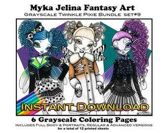 Grayscale Set 9 - Twinkle Pixie Bundle - Printable Coloring Book - Myka Jelina Art - Fairy Coloring Book - Instant Download - Fairy Coloring