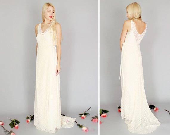 Wedding Dress Sale Size 8 Ivory Lace Tank Strap Low Back Beach