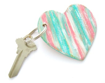 Heart Key Ring, Leather Key Fob, Gifts Under 20, Hand Painted Leather, Preppy Keychain, Rustic Heart, Gift for Women, Green and Pink Key Fob