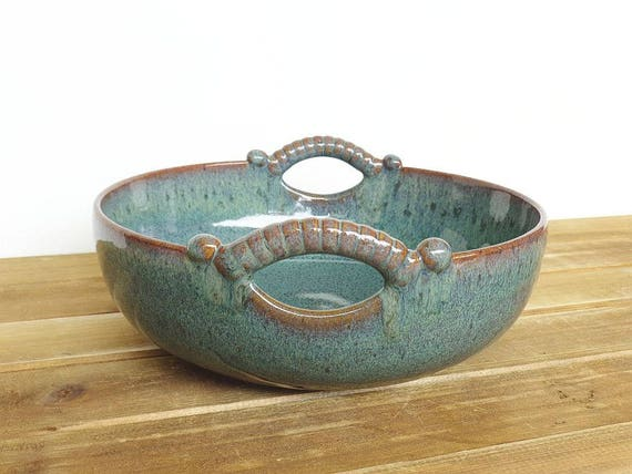 Sea Mist Stoneware Pottery Ceramic Serving Bowl, Two Handles, Rustic Kitchen, Home Decor