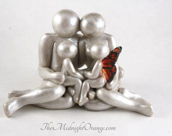 Remembrance Keepsake - Clay Family of 4 Portrait -  handmade gift for child loss, you choose wing style and color - MADE TO ORDER