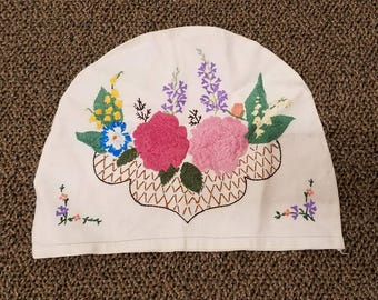 Vintage Tea Cozy with Floral Embroidery