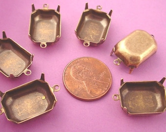 12 Brass Ox Octagon Prong Settings with 2 Rings 18x13 connector