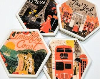 Travel Destination Tile Coasters (set of 4)