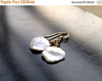 Summer Sale Keishi Petal Pearl Wire Wrapped Gold Filled Dangle Earrings