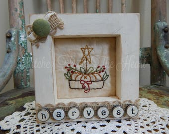Decorative Harvest Framed Stitchery - Harvest Decor - Fall Pumpkin Decorations - Fall - Fall Decor - Thanksgiving Harvest - Thankful