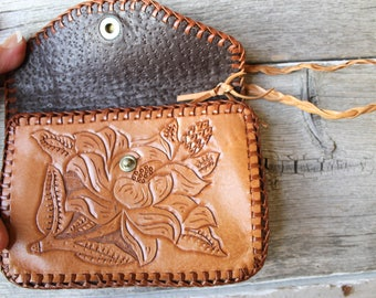 Vintage Tooled Leather Purse, Small leather pouch, Leather Roses Stamped, Western pouch, Cowgirl Pouch, Stamped Helen