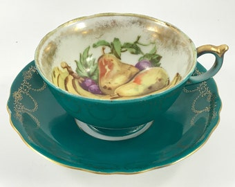 Vintage Green with Fruit Royal Sealy China Japan Cup and Saucer