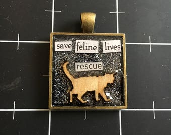 Save Feline Lives, Rescue. Veneer Cat Pendant, 50% of the proceeds goes to the current focus charity