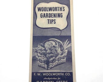 Vintage Woolworth's Gardening Tips Illustrated Pamphlet F. W. Woolworth Co. Garden Seeds